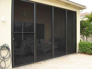 hurricane screens protecting the patio